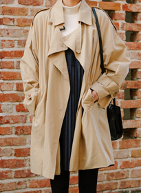 HASDouble-Breasted Trench Coat With Belt