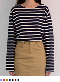 365BASICBasic Striped Long Sleeve Top