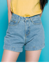 Light Blue High Waist Cuffed Shorts