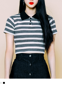 Striped Cropped Polo Shirt