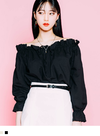 Off-Shoulder With Drawstring Detail Blouse