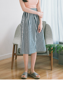 BAHAUSHigh-Waisted Striped Midi Skirt