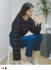 Striped Long Sleeve Loose Fit Tee