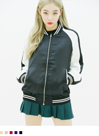 Stripe Trim Zip-Up Varsity Jacket