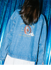 Embroidered Detail Oversized Denim Jacket
