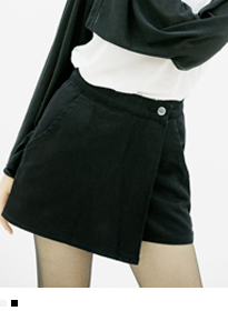 Buttoned Front Wrap Mini Skort