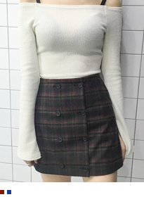 Checkered Button-Front Mini Skirt