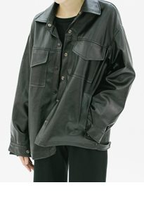 Faux Leather Snap Front Jacket