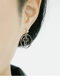 Circle And Cross Earrings