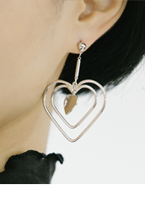 Triple Heart Dangling Earrings
