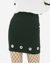 Grommet Detailed Black Mini Skirt