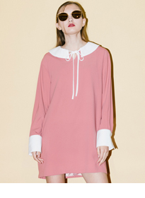 HIDE AND SEEKPuritan Collar With Ribbon Shift Dress