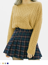 Knit Patterned Boat Neck Sweater