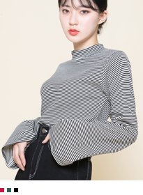 Striped Mock Neck Extended Sleeve Top