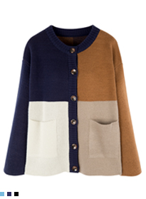 Color Blocked Button-Down Knit Cardigan
