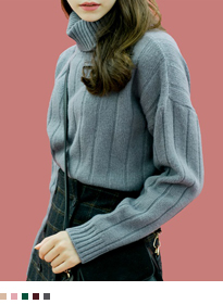 Solid Tone Fold-Over Turtleneck Knit Sweater