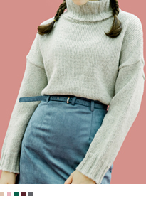Classic Fold-Over Turtleneck Knit Sweater