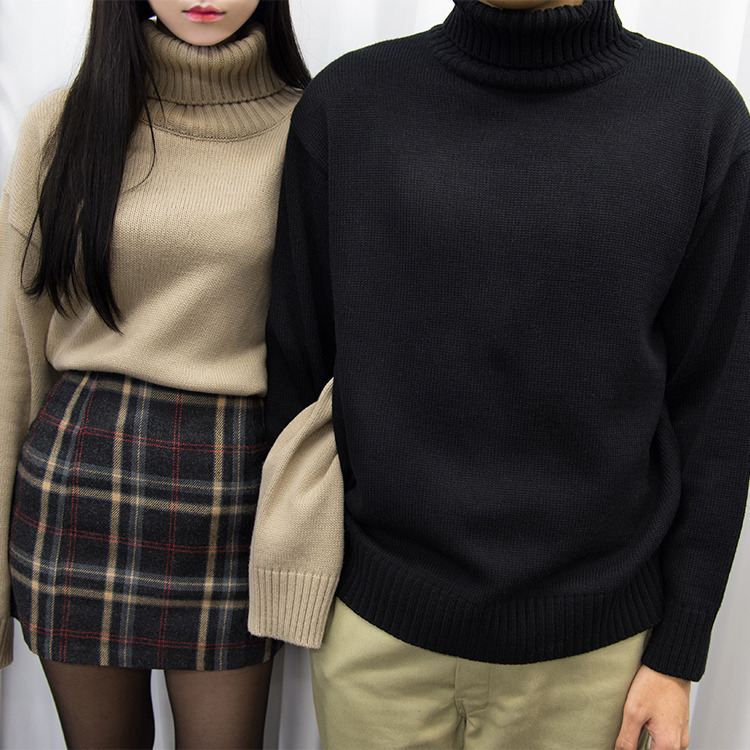 365BASICSolid Tone Turtleneck Knit Sweater
