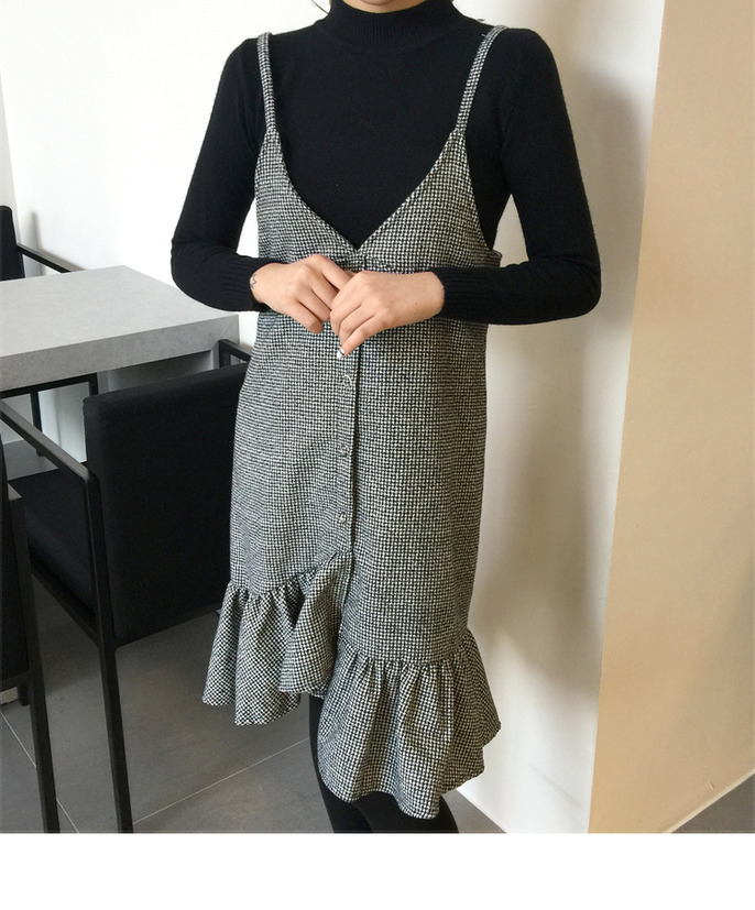Mock Neck Sweater And Houndstooth Check Dress