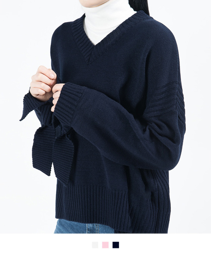 V-Neck Tied Cuff Knit Sweater