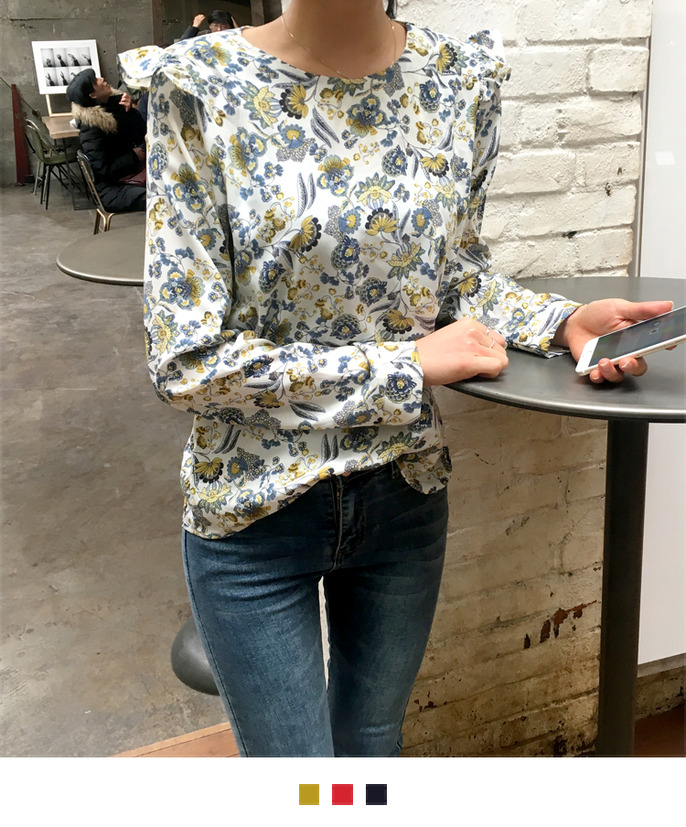 Floral Frilled Accent Blouse
