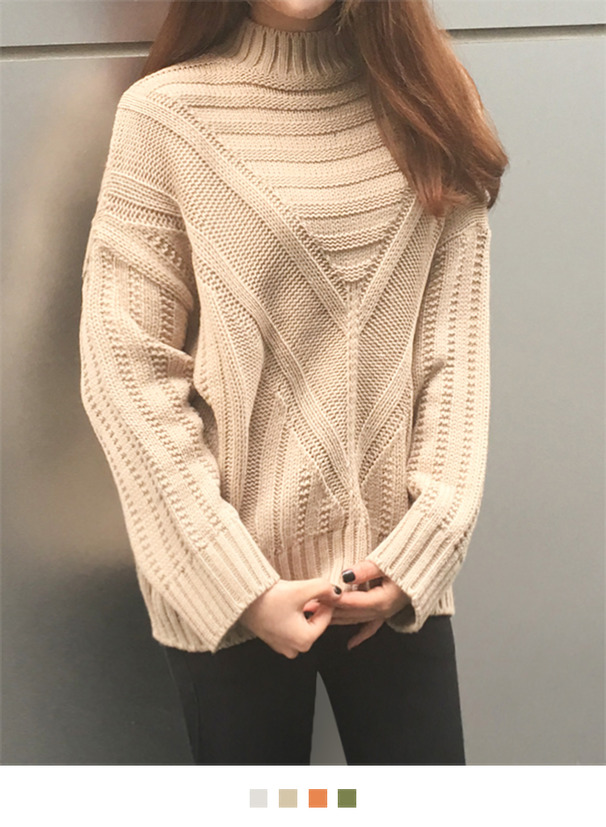 Paneled Mock Neck Knit Sweater