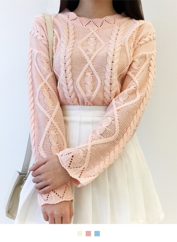 Knit Patterned Scalloped Edge Sweater