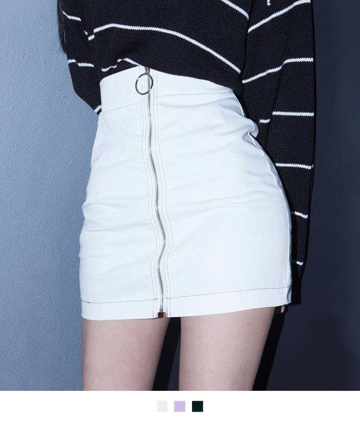 Ring Zipper Pull Mini Skirt