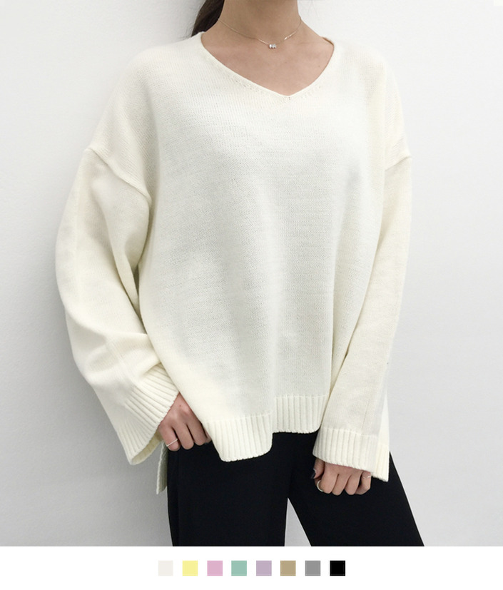 High-Low Hem Loose Knit Sweater