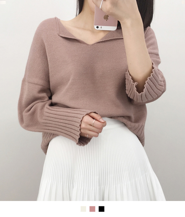 Split Neck Knit Sweater