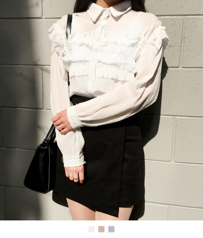 Crinkled Ruffle Accented Blouse