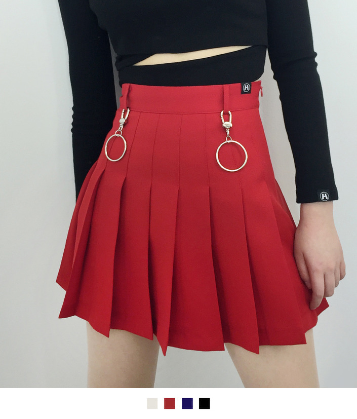 High Waist Pleated Mini Skort