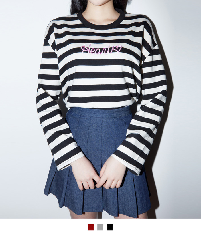 HEART Embroidered Striped Top