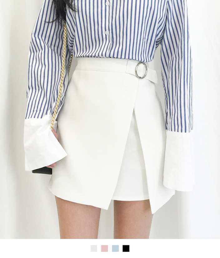 Ring Buckle Faux Wrap Mini Skirt