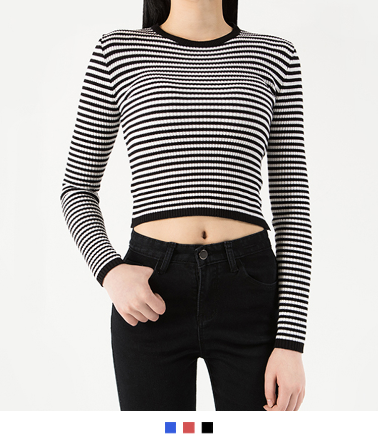 365 BASICStriped Knit Crop Top