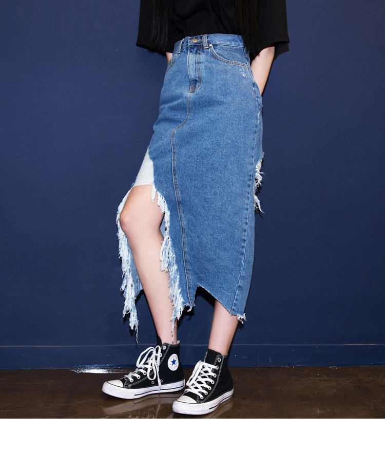 Damaged Slit Midaxi Denim Skirt