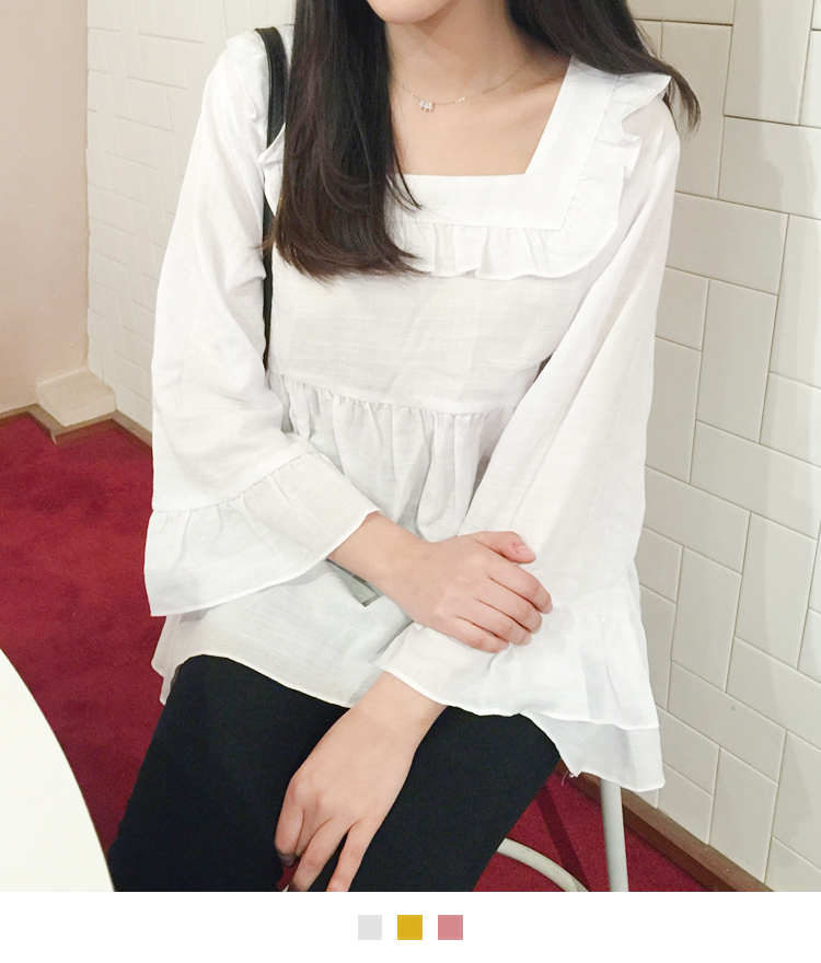 Square Neck Ruffle Accented Blouse