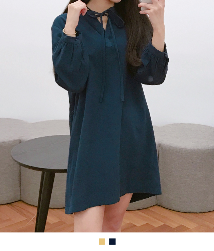 Drawstring Neck Loose Mini Dress