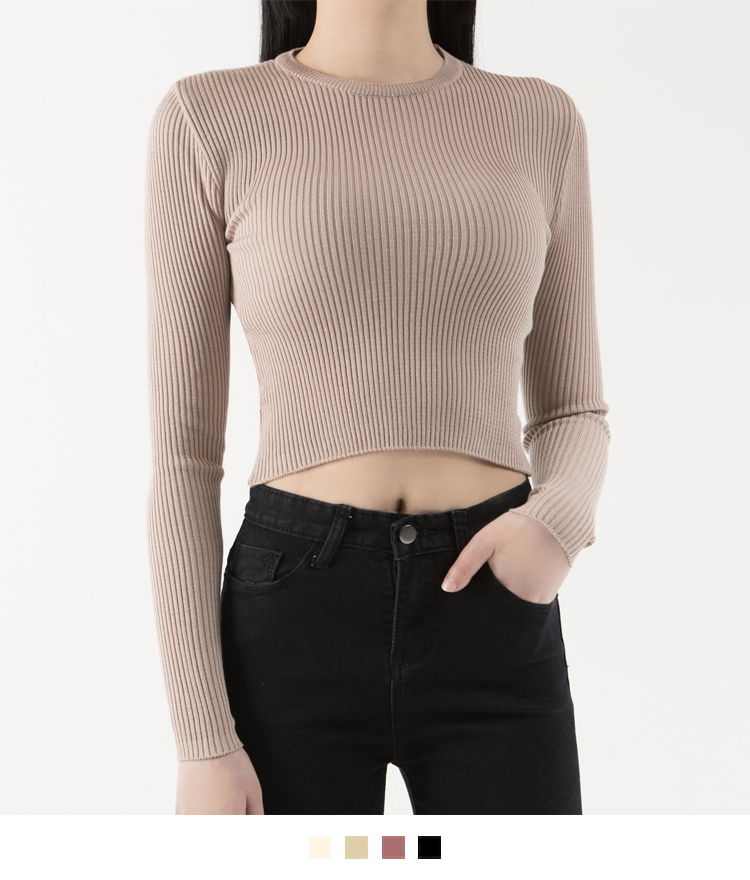 365 BASICSolid Tone Ribbed Knit Crop Top