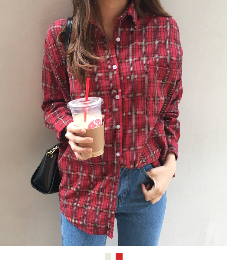 Plaid One Pocket Boyfriend Shirt