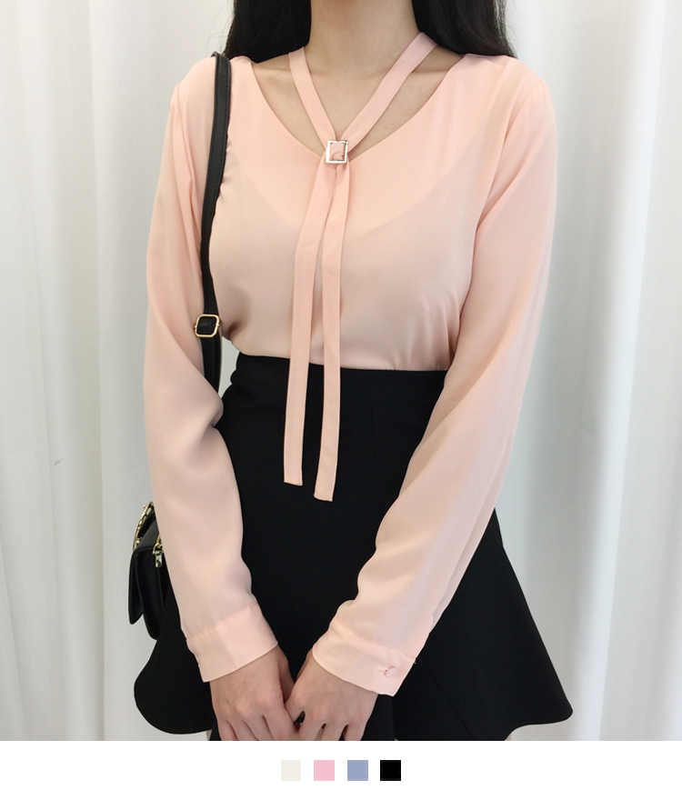 Buckled Neck Strap Blouse