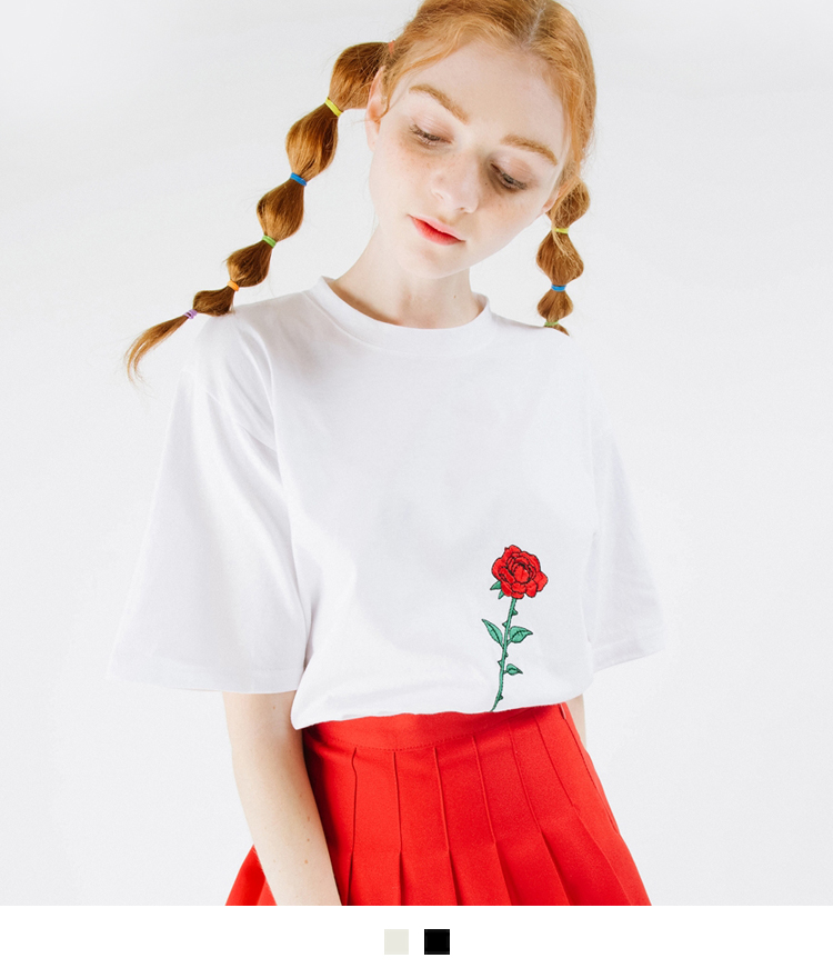 Embroidered Rose Flower T-Shirt