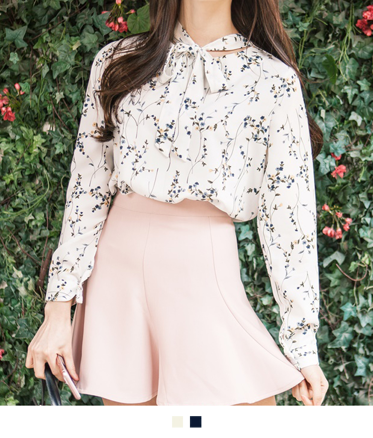 Tie-Neck Long Sleeve Floral Blouse