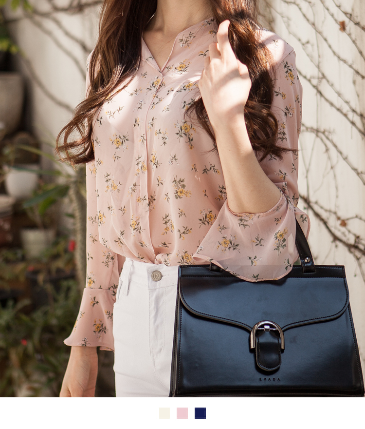 Floral Flounce Cuff Blouse