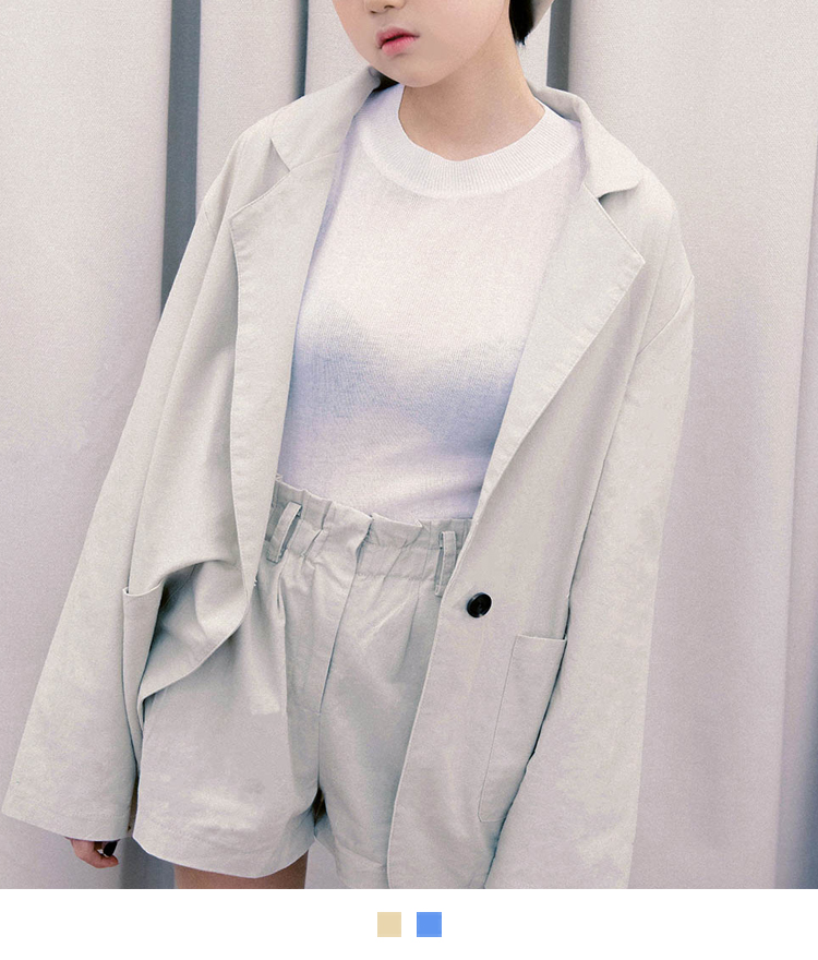 One-Button Jacket And Shorts Set