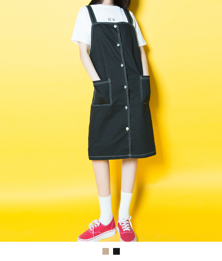 Button-Front Pinafore Dress
