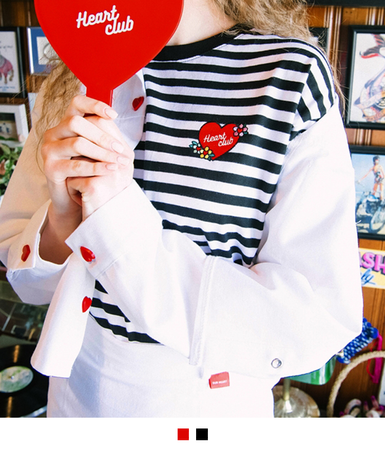 HEART CLUBEmbroidered Logo Striped T-Shirt