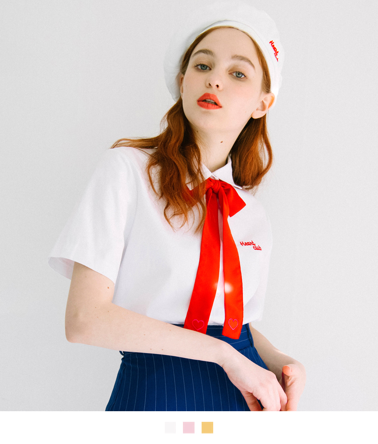 HEART CLUBEmbroidered Logo Point Collar Shirt