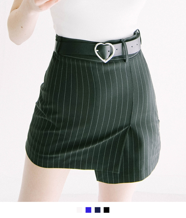 HEART CLUBPinstriped Slim-Fit Asymmetric Skirt